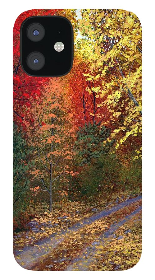 Landscape IPhone 12 Case featuring the painting October Road by Frank Wilson