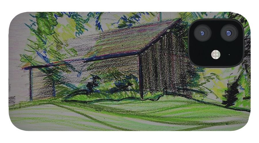 Plein Air IPhone 12 Case featuring the pastel Old Barn At Wason Pond by Sean Connolly