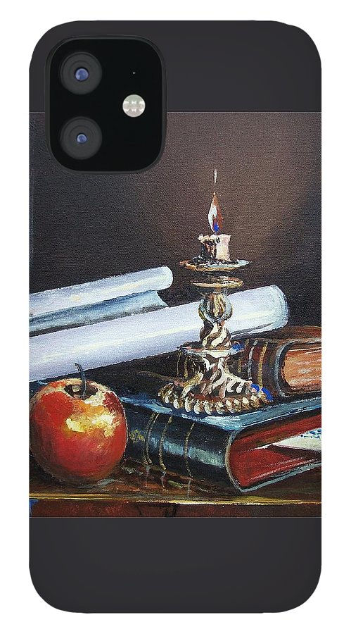 Original Painting IPhone 12 Case featuring the painting Old Books by Sinisa Saratlic