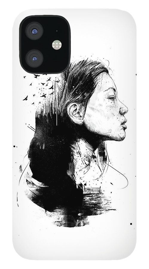 Girl IPhone 12 Case featuring the drawing Open your mind by Balazs Solti