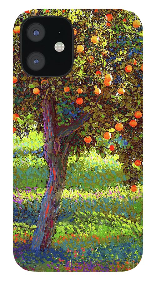 Landscape IPhone 12 Case featuring the painting Orange Fruit Tree by Jane Small