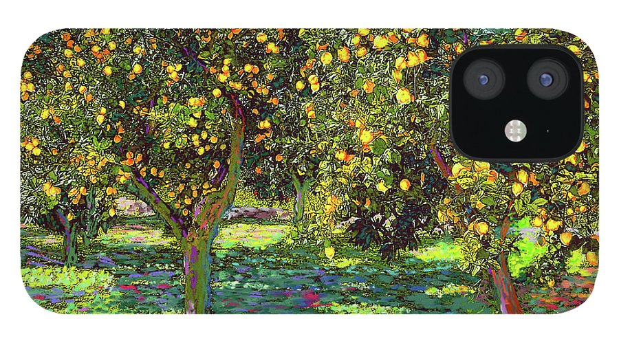 Landscape IPhone 12 Case featuring the painting Orchard of Lemon Trees by Jane Small