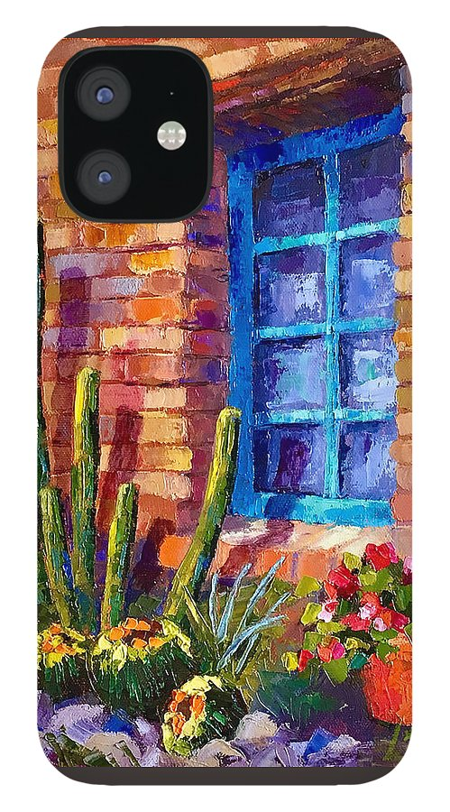 Southwest Art IPhone 12 Case featuring the painting Outside My Window by Linda Star Landon