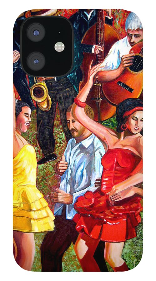 Cuban Art IPhone 12 Case featuring the painting Party times by Jose Manuel Abraham