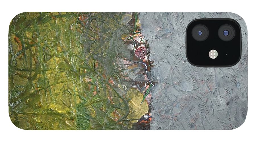 Green IPhone 12 Case featuring the painting Perspectives by Pam Roth O'Mara