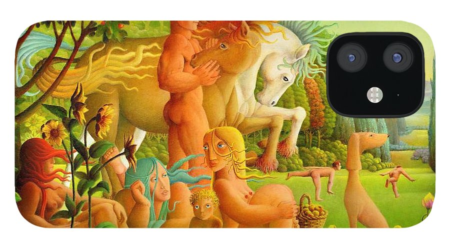 2004 IPhone 12 Case featuring the painting Picnic by Giuseppe Mariotti