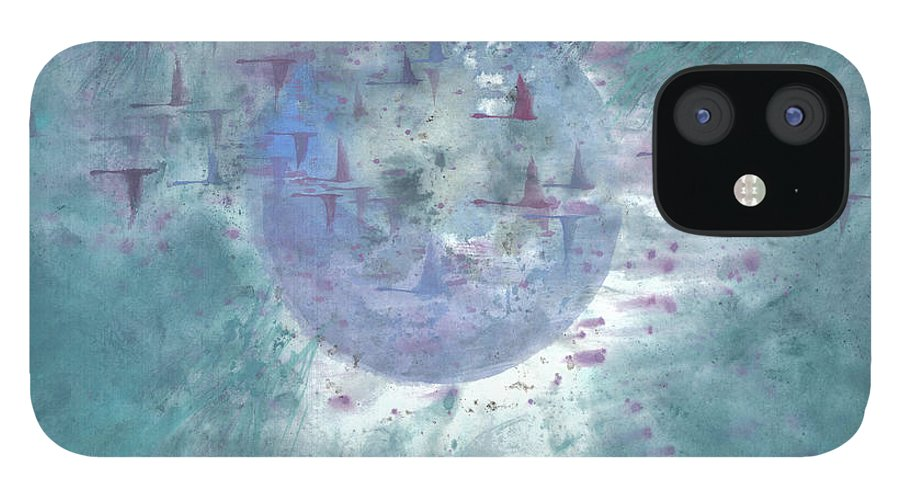 Magnificent Birds Advance Toward Their Destination In A Dynamic Formation. It's A Simple Contemporary Chinese Brush Painting On Rice Paper. IPhone 12 Case featuring the painting Pilgrimage I by Mui-Joo Wee
