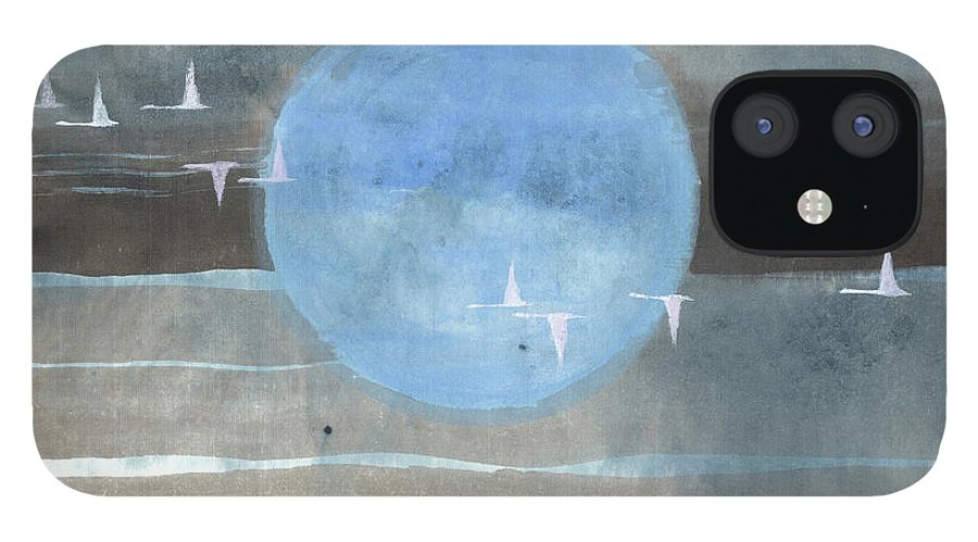 Magnificent Birds Advance Toward Their Destination In A Dynamic Formation. It's A Simple Contemporary Chinese Brush Painting On Rice Paper. iPhone 12 Case featuring the painting Pilgrimage III by Mui-Joo Wee