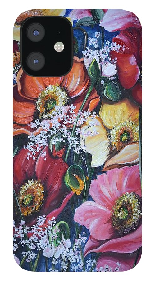 Poppies IPhone 12 Case featuring the painting Poppies Delight by Karin Dawn Kelshall- Best