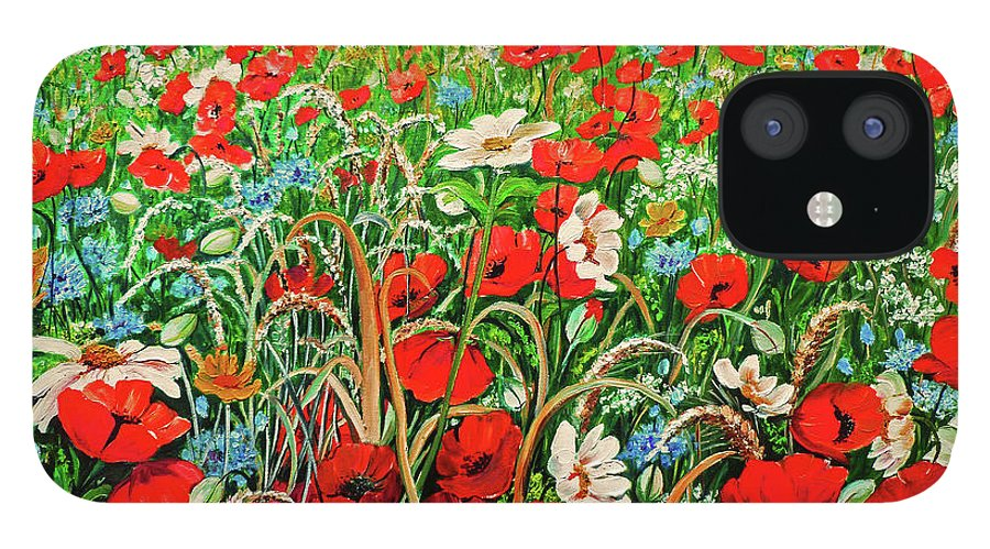 Floral Painting Flower Painting Red Poppies Painting Daisy Painting Field Poppies Painting Field Poppies Floral Flowers Wild Botanical Painting Red Painting Greeting Card Painting IPhone 12 Case featuring the painting Poppies In The Wild by Karin Dawn Kelshall- Best