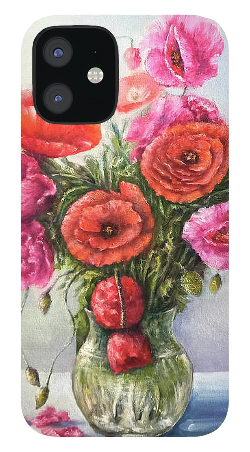 Poppy IPhone 12 Case featuring the painting Poppy flowers by Natalja Picugina