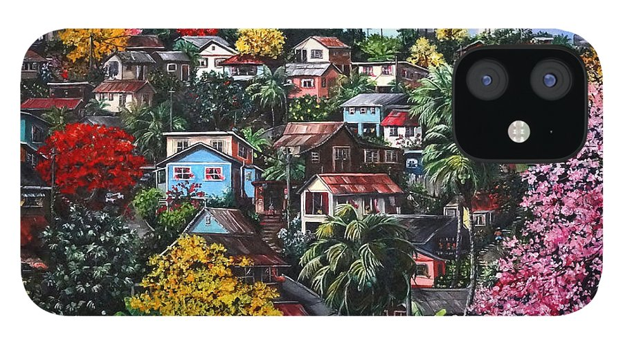 Landscape Painting Cityscape Painting Caribbean Painting Houses Hill Life Color Trees Poui Blossoms Trinidad And Tobago Floral Tropical Caribbean IPhone 12 Case featuring the painting Poui Calling For The Rains by Karin Dawn Kelshall- Best