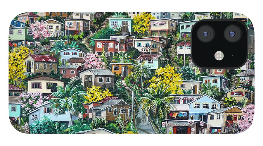 Landscape Painting Cityscape Painting Original Oil Painting  Blossoming Poui Tree Painting Lavantille Hill Trinidad And Tobago Painting Caribbean Painting Tropical Painting IPhone 12 Case featuring the painting Poui On The Hill by Karin Dawn Kelshall- Best