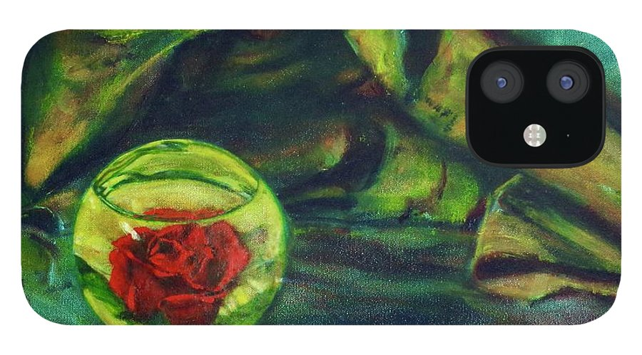 Oil Painting On Canvas IPhone 12 Case featuring the painting Preserved Rose . . Draped Canvas by Sean Connolly