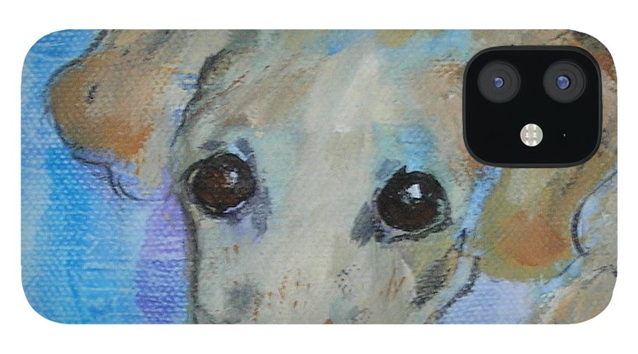 Acrylic iPhone 12 Case featuring the drawing Pupster by Cori Solomon
