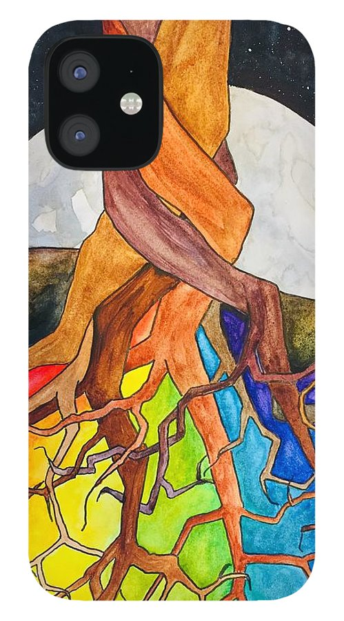 Rainbow IPhone 12 Case featuring the painting Rainbow Soil with Moon by Vonda Drees