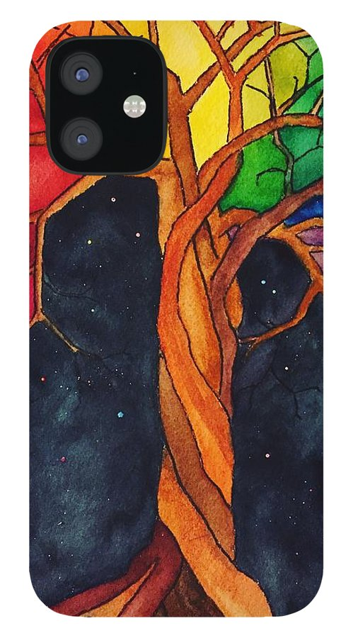 Rainbow iPhone 12 Case featuring the painting Rainbow Tree with Night Sky by Vonda Drees