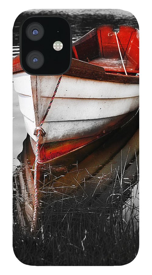 Red Boat IPhone 12 Case featuring the photograph Red Boat by Dapixara Art