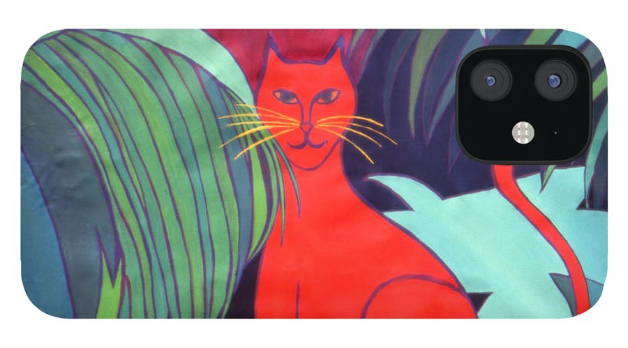 Cat IPhone 12 Case featuring the painting Red Cat by Ingrid Torjesen