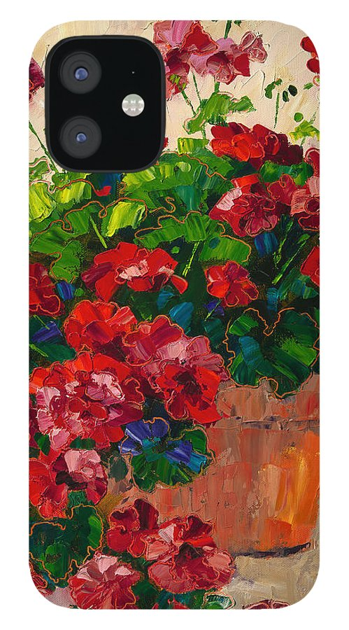 Flowers IPhone 12 Case featuring the painting Red Geraniums by Linda Star Landon