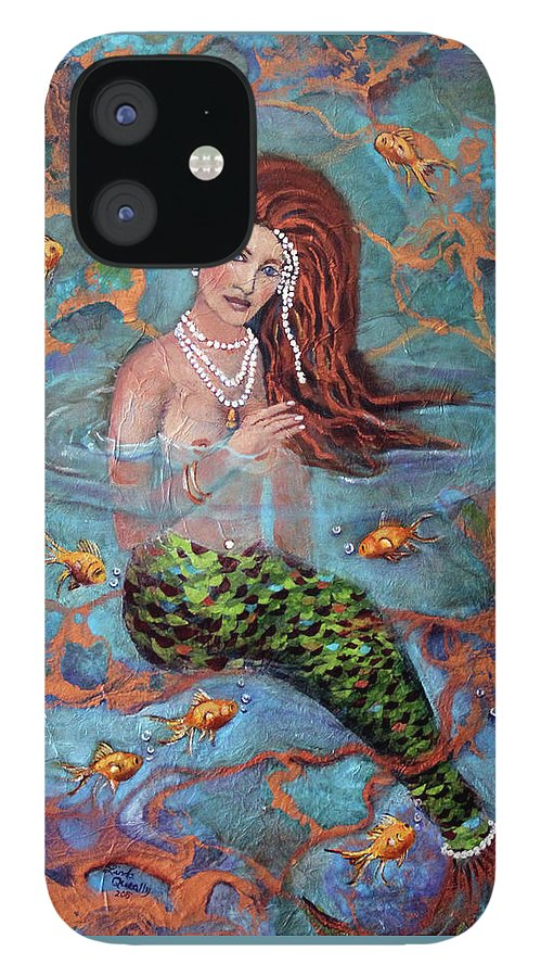 Blue IPhone 12 Case featuring the painting Red Headed Mermaid Ophelia Painting by Linda Queally by Linda Queally