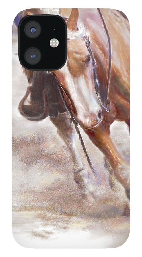 Horse IPhone 12 Case featuring the painting Reiner's Grace- Western Reining Horse by Connie Moses