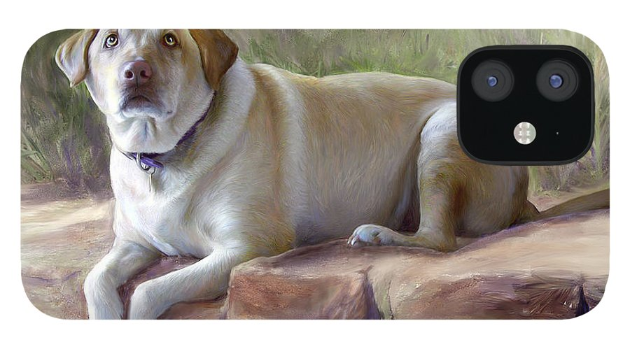 Dog IPhone 12 Case featuring the painting Restrained Energy- Yellow Labrador Retriever Portrait by Connie Moses