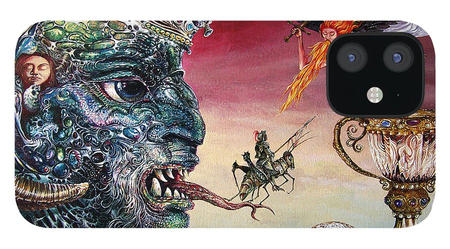 Surrealism IPhone 12 Case featuring the painting Revelation 20 by Otto Rapp