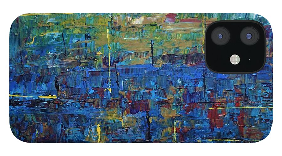 Abstract IPhone 12 Case featuring the painting Rona Blues by Jimmy Clark