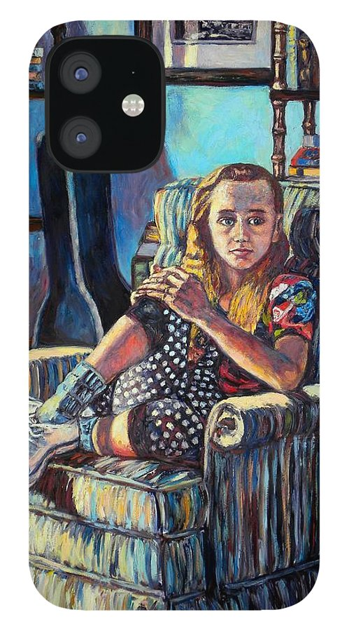 Figure IPhone 12 Case featuring the painting Samantha by Kendall Kessler