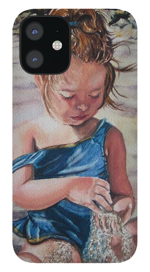 Beach IPhone 12 Case featuring the painting Sand by Karen Ilari