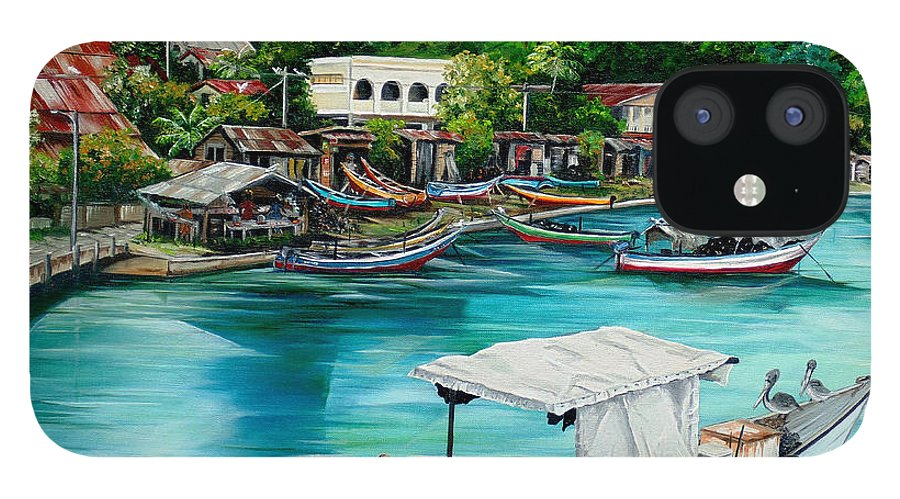 Ocean Painting Sea Scape Painting Fishing Boat Painting Fishing Village Painting Sanfernando Trinidad Painting Boats Painting Caribbean Painting Original Oil Painting Of The Main Southern Town In Trinidad  Artist Pob IPhone 12 Case featuring the painting Sanfernando Wharf by Karin Dawn Kelshall- Best