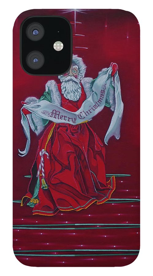 Christmas IPhone 12 Case featuring the painting Santa Claus - Top Of The World by Sean Connolly