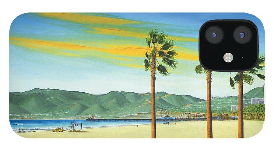 Santa Monica IPhone 12 Case featuring the painting Santa Monica by Jerome Stumphauzer