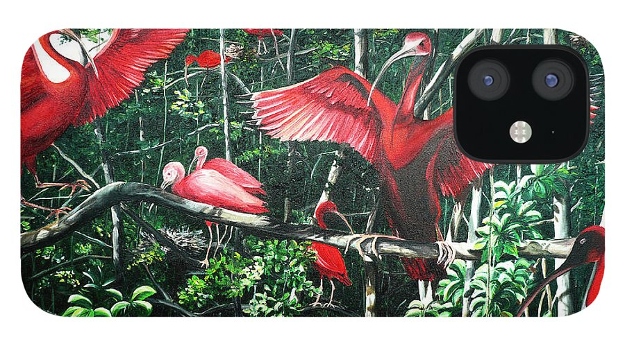 Caribbean Painting Scarlet Ibis Painting Bird Painting Coming Home To Roost Painting The Caroni Swamp In Trinidad And Tobago Greeting Card Painting Painting Tropical Painting IPhone 12 Case featuring the painting Scarlet Ibis by Karin Dawn Kelshall- Best