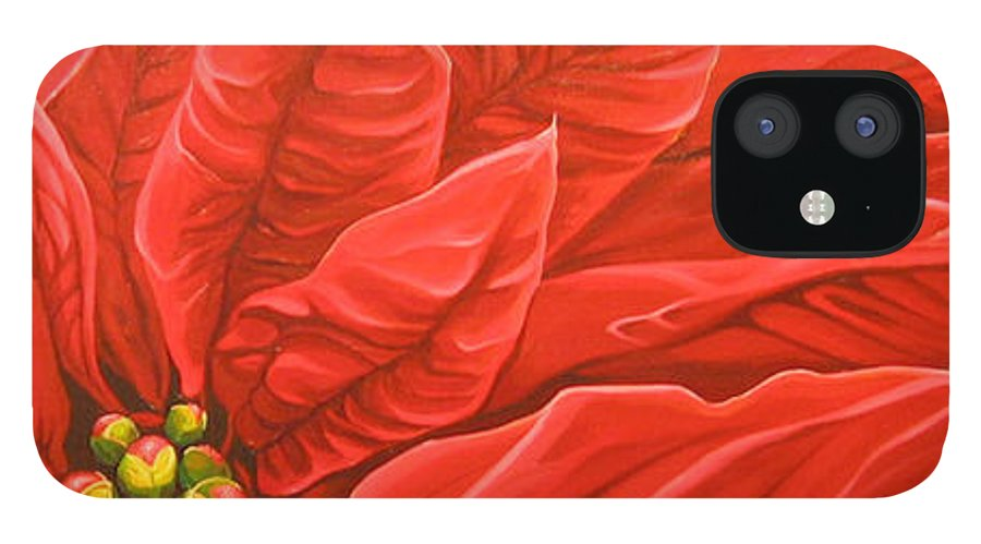 Floral IPhone 12 Case featuring the painting Scarlet Nights by Hunter Jay