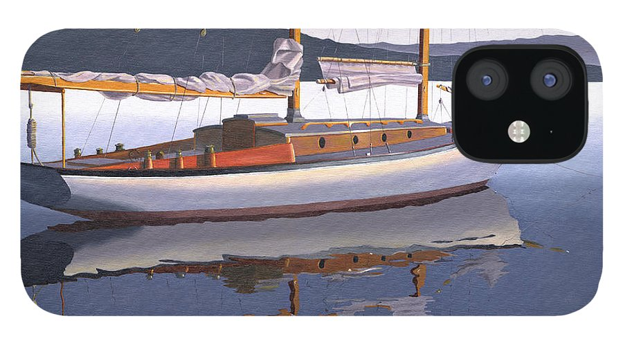 Schooner IPhone 12 Case featuring the painting Schooner at dusk by Gary Giacomelli