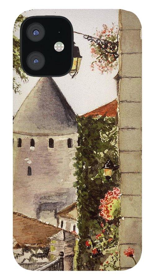 France IPhone 12 Case featuring the painting Semur en Auxois by Mary Ellen Mueller Legault