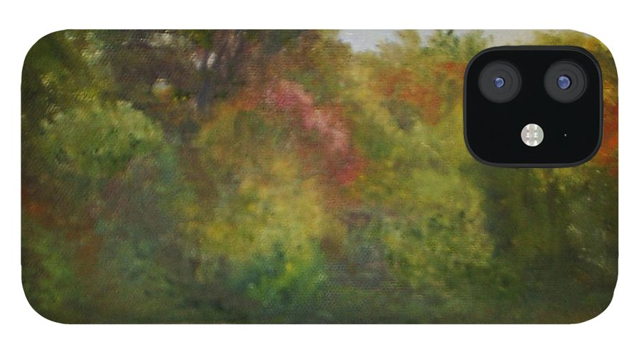September iPhone 12 Case featuring the painting September in Smithville Park by Sheila Mashaw