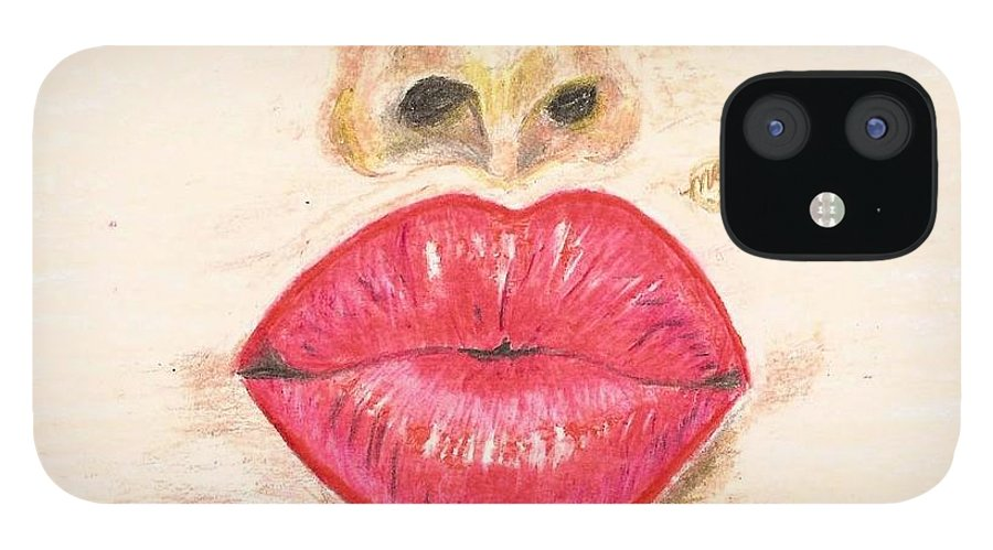 Sexy Red Lips IPhone 12 Case featuring the painting Sexy Red Lips by Monica Resinger