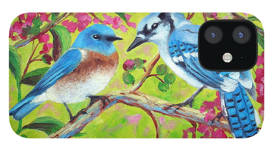 Birds IPhone 12 Case featuring the painting Sharing A Branch by David G Paul