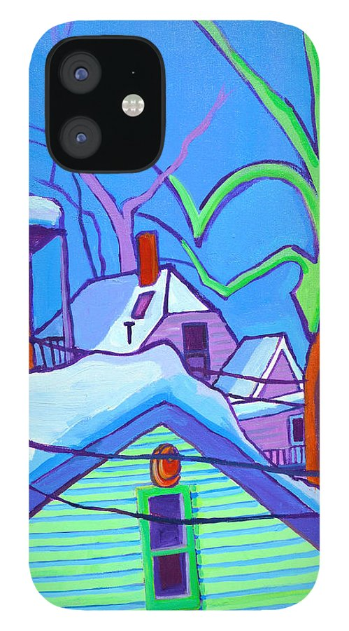 Buildings IPhone 12 Case featuring the painting Sheffield Winter by Debra Bretton Robinson