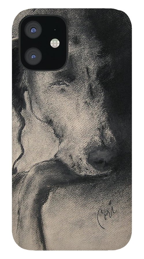 Weimaraner IPhone 12 Case featuring the drawing Silhouette by Cori Solomon