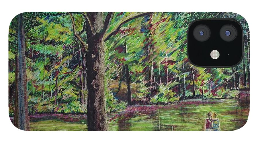 Family IPhone 12 Case featuring the pastel Sisters At Wason Pond by Sean Connolly