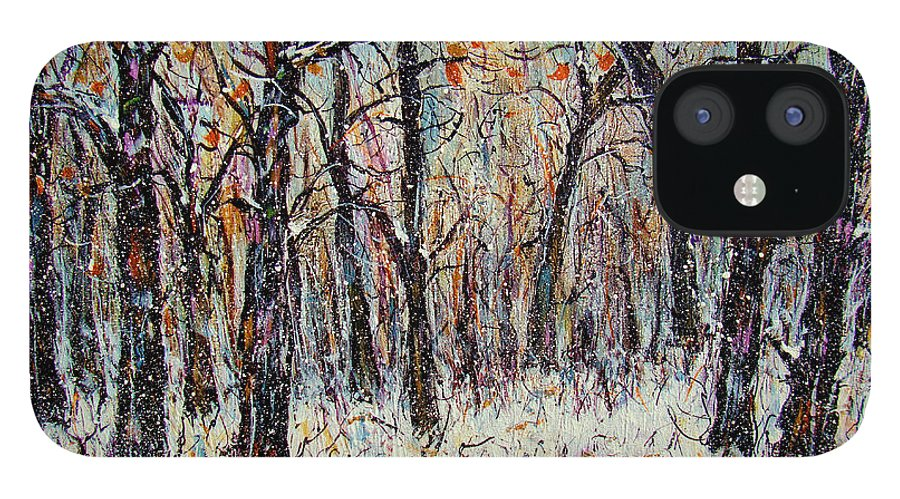 Landscape IPhone 12 Case featuring the painting Snowing In The Forest by Natalie Holland