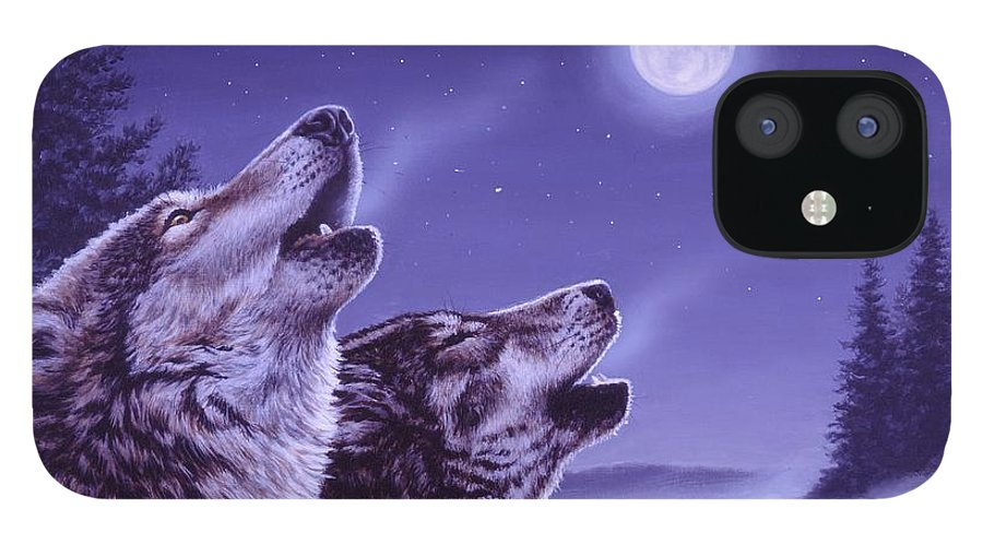 Wolf IPhone 12 Case featuring the painting Song of the North by Richard De Wolfe