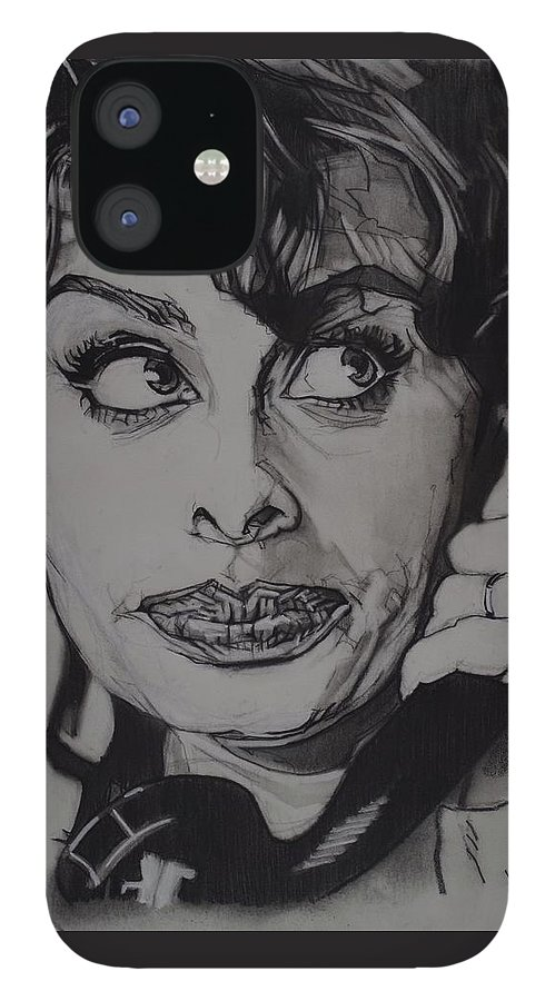Charcoal On Paper IPhone 12 Case featuring the drawing Sophia Loren Telephones by Sean Connolly