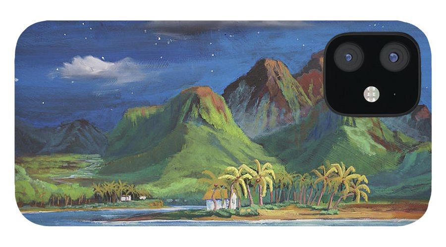 Hawaii IPhone 12 Case featuring the painting Splendor in the Moonlight by Heather Coen