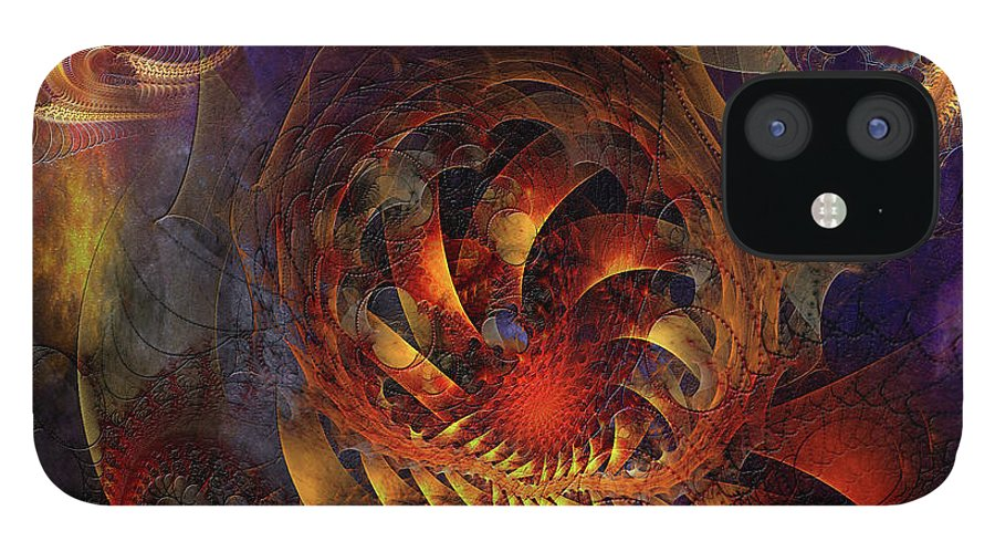 Abstracts IPhone 12 Case featuring the digital art Spontaneous Extravagance - Square Version by John Robert Beck