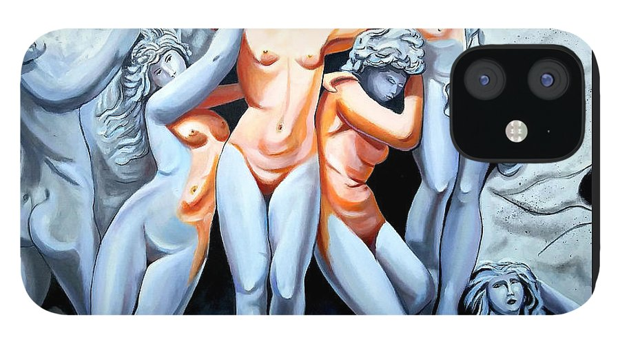 Statue Women IPhone 12 Case featuring the painting Statue 3 by Jose Manuel Abraham